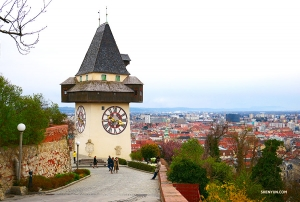 At the top, they discover a huge clock tower overlooking Graz, the second largest city in Austria. Providing historic beauty and punctuality assistance, the 18th century tower has parts dating back to the Middle Ages.