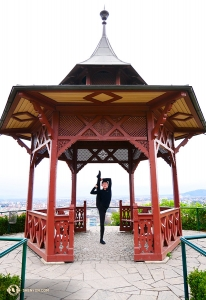 Dancer Henry Hung poses in the gazebo lookout on top of the hill. Surprisingly, this is actually a Chinese-style pavilion in Graz!