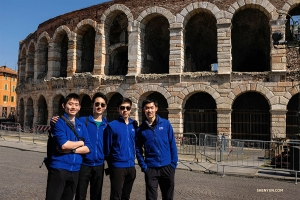 Built in the first century but still in use today, the Arena di Verona is one of the best preserved Roman amphitheaters. From left: dancers Henry Hung, Stanley Lin, Allen Liu, and Felix Sun.