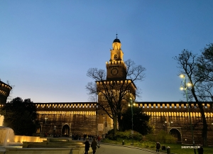 Milan's Sforza Castle all lit up. It is said that the fortress' walls were designed by Leonardo da Vinci. (Photo by Angelia Wang)