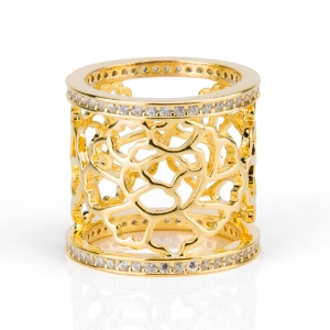 Tang Flower Scarf Ring Gold