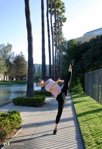 Between performances at Costa Mesa's Segerstrom Center for the Arts dancer Angela Xiao takes a stroll by the pond. (Photo by Kexin Li)