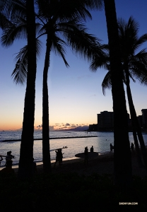 Local surfers on the beach in Honolulu—a typical Hawaiian postcard scene. (Photo by Jeff Chuang)