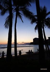サーファーの姿がちらつくホノルルのビーチで。ハワイの絵葉書になりそうな風景。(撮影:ジェフ・チュワン)
