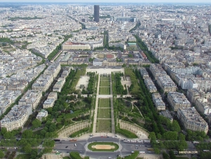 A view from the Eiffel Tower of the Champs de Mars gardens.
