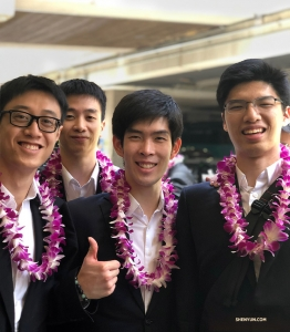 Dancers (from left) Jun Liang, Jeff Chuang, Rui Suzuki, and Antony Kuo—is it obvious they're glad Hawaii is on their tour?