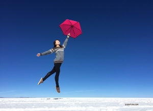 Tiffany Yu in the refreshing tranquility of Bolivia's Salar de Uyuni salt flats.