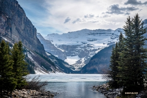 Banff's mostly frozen Lake Louise. (Photo by Daniel Jiang)