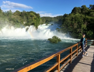 She also visited the lovely waterfalls of Krka National Park. (Spot the rainbow?)