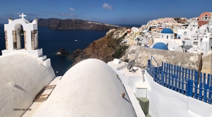 Projectionist Annie Li backpacked around Europe, visiting Greece and Santorini in the Aegean Sea...