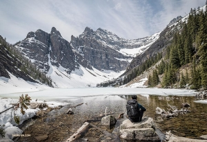 Another two hours into their hike, the brothers arrived at Lake Agnes.