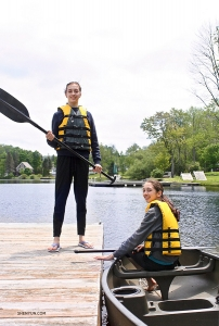 Closer to home, dancer-sisters Lilly (left) and Katie Parker ready for canoeing on Lewis Lake, Pennsylvania.