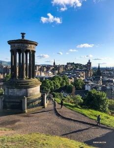 MC Victoria Zhou got a view of Edinburgh, Scotland from the Dugald Stewart Monument.