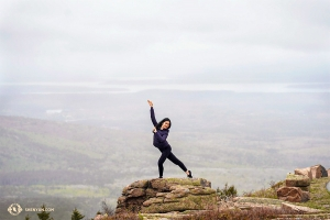 Across the continent, dancer Lily Wang visited Acadia National Park in Maine.