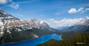 Peyto Lake—its water contains glacial rock flour, which reflects the sunlight to produce such intense hues of blue.