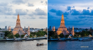 Wat Arun just before sunset—and aglow ten minutes later.