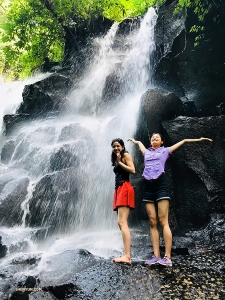Xindi Cai (right) excited to be in Bali.