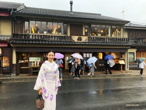 MC Nancy Zhang on her way to the Arashiyama Bamboo Groves of Kyoto, Japan.