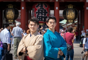 Dancer-brothers William (left) and Victor Li in front of Sensō-ji  Temple in Asakusa, Japan.