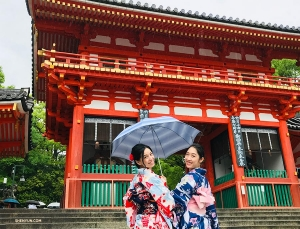 Next, like many of our performers, they traveled to Japan to experience its beautiful traditional culture—Diana Teng (left) and Ashley Wei visiting Yasaka Shrine in kimonos.
