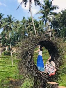 魏佳聞(左)和騰安娜在宜人的景色中緩解鞦韆帶來的緊張刺激。