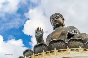 On Hong Kong's Lantau Island, the 34-meter Tian Tan Buddha. (Photo by Michelle Wu)