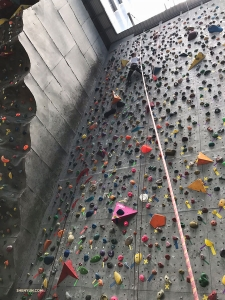After Disneyland, Melody Qin had a go at rock climbing.