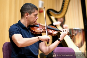 Violinist Gustavo Briceño practices at the Pingtung Performing Arts Center in Taiwan.