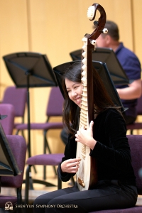 Pipa player Yuru Chen enjoying her practice session.