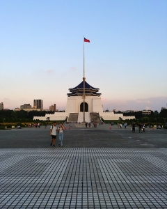 At the center of Taiwan's capital, Taipei's Chiang Kai-Shek Memorial Hall at sunset.