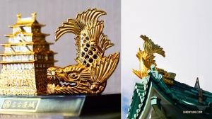 Символами замка Нагоя считаются две золотые фигуры рыбы-тигра на крыше: одна мужская и одна женская. У каждой из позолоченных рыб голова тигра и тело карпа. (Фото: Тони Чжао)