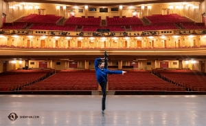 Dancer Ty Chen warms up before his company's first performance at the War Memorial Opera House in San Francisco.