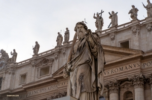 Among the many statues that adorn the Renaissance architecture is one of St. Peter himself.