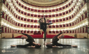 Dancers Bella Fan, Jenni Song, and Angelina Liu of Shen Yun Touring Company grace the stage of the oldest continuously operating opera house in Europe, the Teatro di San Carlo Opera House in Naples, Italy. 