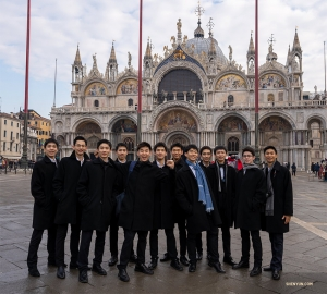 Dancers capture the moment in front of the Basilica.