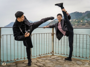 Dancer-martial artists Eric Lam and Jeff Sun. (Photo by William Li)