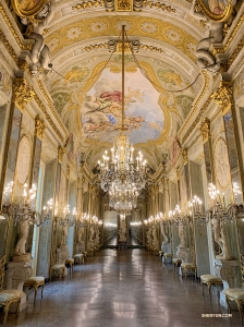 The stunning Gallery of Mirrors at the Royal Palace Museum in Genoa. (Photo by Han Ye)