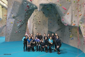 Dancers and musicians try rock climbing at Texas Rock Gym.