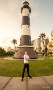 Qianyong Ren at La Marina, an active lighthouse that can be spotted from 18 nautical miles away. (Photo by Monty Mou)