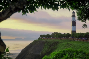 On the first day, the group goes to the coast of Lima to catch dinner (not literally) and the sunset. Here is a shot of La Marina Lighthouse on the coast. (Photo by Steve S)