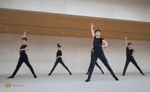 Dancers, from left: Shawn Ren, Antony Kuo, Bill Hsiung, Teo Yin (hiding), and Jun Liang.