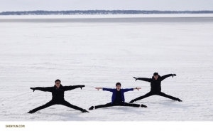 Performers check out how frozen Clear Lake is while stopping for lunch on their way from Minnesota to Nebraska.