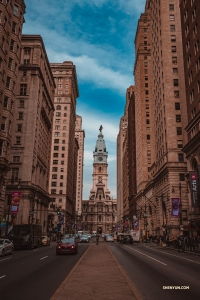 While in Philadelphia for 20 performances at the Merriam Theater, performers explore the downtown. The City Hall building (straight ahead) is the tallest masonry structure in the world without a steel frame.